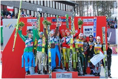 Словенские прыгуны победили в командных соревнованиях на домашнем финале Кубка мира в Планице